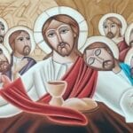 Jesus with the 12 Apostles at the Last Super.